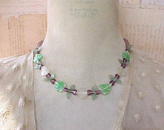 Dainty and Pretty Necklace of Glass Leaf Beads and Lavender Hearts