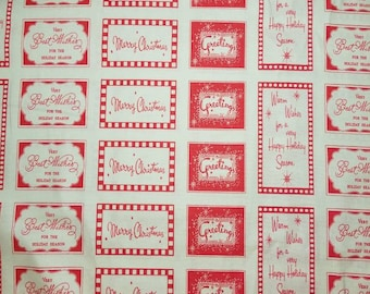 Cosmo Cricket DEAR MR. CLAUS red holiday tags Fat Quarter cotton quilting fabric