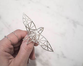 Geometric Wire Bird Ring, Minimal Origami Silver Wire, Unique and Edgy