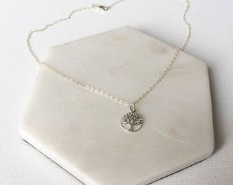 Tree Of Life Charm Necklace / Sterling Silver / Dainty / Great For Layering - FREE DELIVERY*