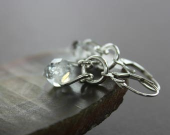 Sterling silver herkimer diamond earrings - Dangle earrings - Trendy earrings - Clear quartz earrings - April birthstone earrings - ER043