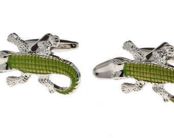 Silver and Green Alligator Cuff Links