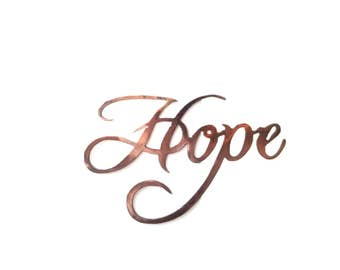 Hope Sign Wall Hanging.  Wall Decor.  Copper