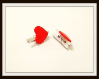 x 2 mini clips linen hearts wood 2 cm