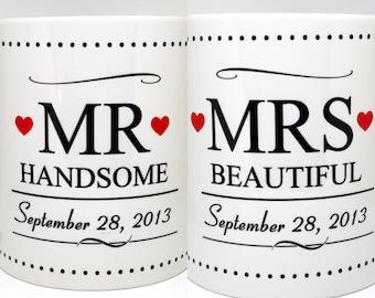 Custom Made Mr Handsome and Mrs Beautiful Coffee Mug Set