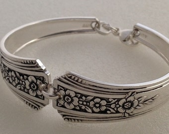 Spoon Bracelet. Fortune 1932. Size 6 to 9. Vintage Silverplate. Silverware Jewelry.
