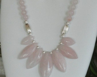 Pink rose quartz beaded necklace  -  26