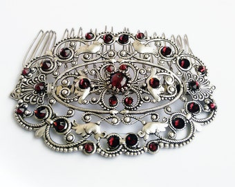 Red Hair Comb Vintage Swarovski crystal Wedding Filigree Garnet Hair accessory Hair Jewelry Formal Party Wedding jewelry womens