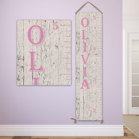 Growth Chart Ruler for Girl - Personalized Growth Chart, Canvas Wooden Growth Chart - GC0101P