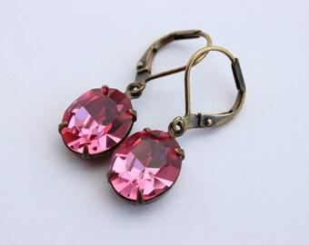 Swarovski Rose earrings, Swarovski earrings, pink earrings, bright pink earring, hot pink earring, 12x10 oval earrings, pink wedding SR01