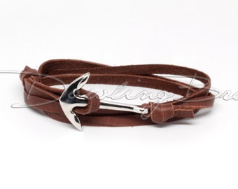 Nautical Anchor Bracelet on Chocolate Leather for Men or Women