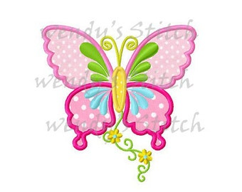Flower butterfly applique machine embroidery design instant download