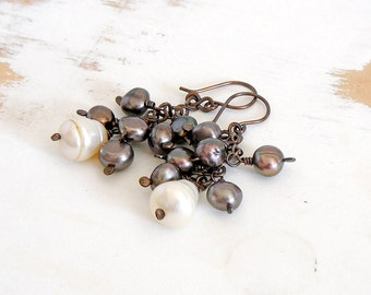 Baroque Pearl Cluster Earrings in Brown and White on Copper Handmade Chain with Sterling Silver Hooks