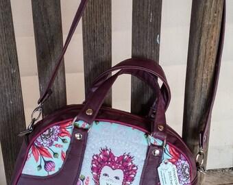 Handbag, Shoulder Bag, Burgundy Shoulder Bag, Vegan Leather, Purse , Faux Leather, Tula Pink