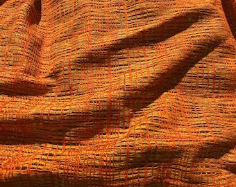 Vintage 1960's Vibrant Orange & Yellow Woven Curtains