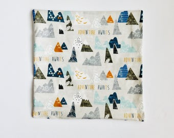 Woodland Accent Pillow, Mountain Fabric Pillow, Woodland Nursery, Woodland Pillow, Cabin Decor, Adventure Pillow, Adventure Fabric