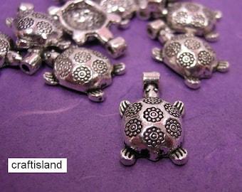 sale-6pc Antique Silver Pl Flower Turtle Metal Pendant-300