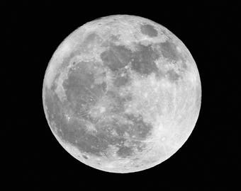 Full Moon Square Photo Print Night Sky Star Lunar Photography