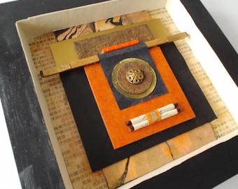 ORANGE CHRONICLES mixed-media, collage, assemblage, shadow box, original art