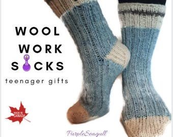 Wool Work Socks, Hand Knit wool socks, Sandal socks, winter socks, House Slippers, Bed Socks, wool knit,Hand Knit Wool