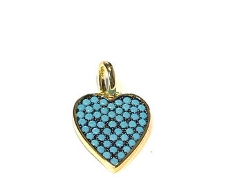 Turquoise OR black on black* heart pendant