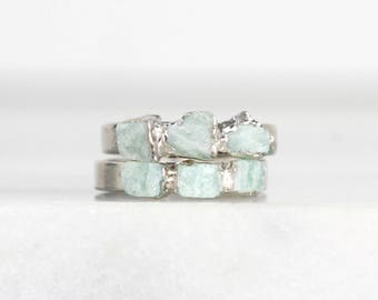 amazonite ring | crystal ring | raw stone ring | jade mineral ring | organic stone ring | organic stone jewelry | turquoise stacking ring