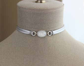 White Fire Opal Leather Choker AND/OR Bracelet. Choose From 9 Leather Colors
