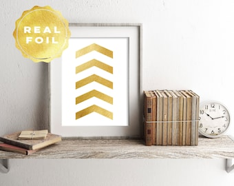 Chevron Real Gold Foil Art Print 4 x 6, 5 x 7, Silver Foil, Trendy Decor, Minimalist, Modern, Print Series, Chevron Decor, Room Decor