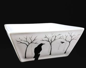 Ceramic Dish, Hand Painted Crows in the Mist, Crows and Ravens, Candy Dish, Dip Bowl, Crow Dish, Raven Dish, Halloween Decor, Halloween Dish