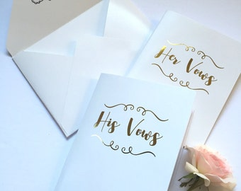 Vow Books. FOIL.Set of Two. Wedding. Vows renewal. Gift for the Bride and Groom.