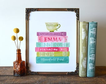 Jane Austen Book Stack Spines Illustration   8x10 Hand Lettered and Illustrated Book Quote Art Print   Pride and Prejudice   Emma