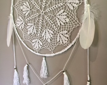 Large White Wall Hanging, Boho Tassel Wallhanging, Vintage Wall Hanging, Bedroom Wall Decor, Dreamcatchers, Boho Wall Hanging, Wall Decor