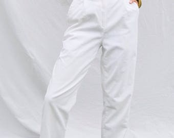 """Rare High-Waisted Corduroy White Trousers w/ Slight Pleating & A Flattering Relaxed- 23"""" waist"""