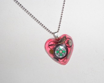 Direction of my Heart Compass and Gears Resin Pendant Necklace Steampunk -  OOAK
