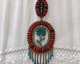 1970s Turqoise & Coral Flower Pendant