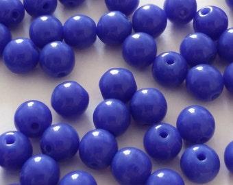 60pcs Royal Blue Czech Beads - 4mm Beads - Czech Glass Beads - Round Opaque Beads - Glass Beads - Jewelry Supplies - GB347
