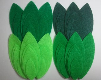 Leaves -- 48 Felt Die Cut Shapes -- Appliques Embellishments for Crafts Hair Bows Clippies Clips -- QUICK TO SHIP