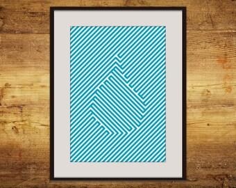 Blue drop line art A3 printable poster instant download