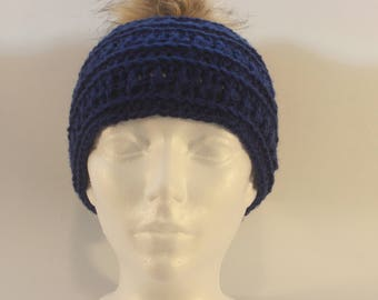 Blue hand crochet hat with faux fur pom pom