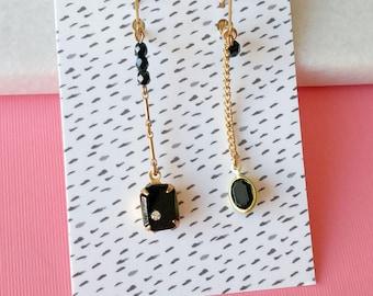 Vintage Black Asymmetric Earrings - Onyx  - Art Deco Style Jewelry - Mismatched Earrings - Osaka Inspired (SD1210)