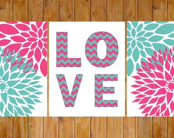 Floral Flower Teen Girl's Pink Teal Chevron Love Room Baby Nursery Decor Wall Art DIY Printable 8x10 JPG files Instant Download (108)