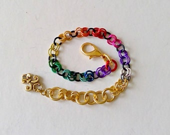 Chainmaille Bracelet - Rainbow, Pride, Colorful, Link Bracelet, Chain Maille