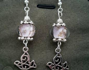 Pink earrings with birds ref 390
