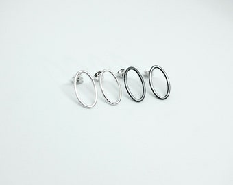 Medium sterling silver oval ring studs