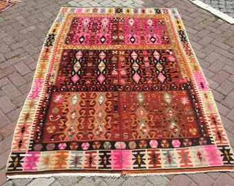 "Turkish kilim, 90.5"" x 60"", Very Unique Turkish kilim rug, soft color kilim, area rug, kilim rug, vintage rug, bohemian rug, pink kilim rug"