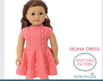 Doll Dress Knitting Pattern, Fits American Girl dolls, Summer Clothes  for 18 inch Dolls, Selina  Dress Pattern, Instant Download,