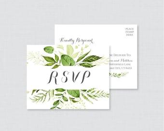 Printable OR Printed Wedding RSVP Postcards - Green RSVP Postcards, Green Leaf Wedding Response rsvp Postcard, Botanical Greenery rsvp 0007