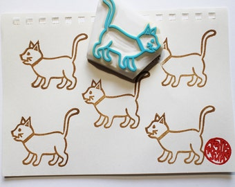 cat rubber stamp | kitten stamp | craft gift for cat lovers | birthday card making | diy planner journal | hand carved by talktothesun