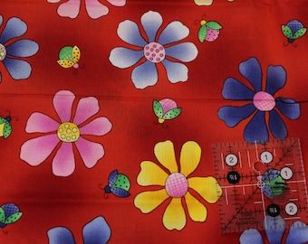 "Cherry Jubilee Flowers and Ladybugs by Mary Lou Weidman for Bernatex 100% cotton fabric 42"" - 45"" wide"