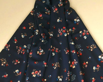 Navy Blue Chiffon Fabric Floral Dress Fabrics Sold by Half Meter MJ752